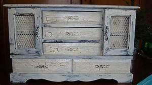 meuble repeint avec peinture effet craquele super deco With peinture craquelee pour meuble