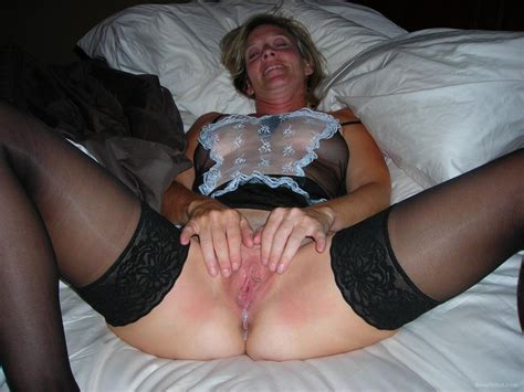well used milf creampie leaking out of pussy french maid outfit