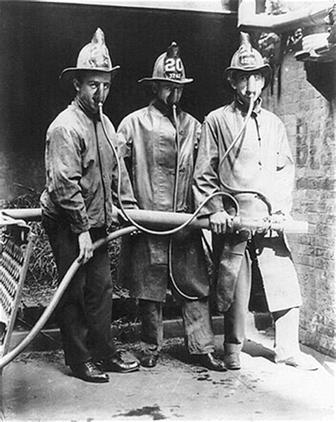 firefighters wearing smoke mask invention photo print  sale