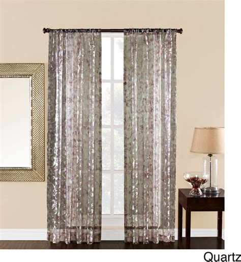 84 inch sheer scroll print curtain panel
