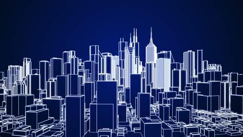 stock video clip  abstract city rotating   dark