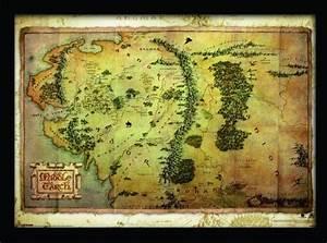 Acheter De La Terre : le hobbit carte de la terre du milieu poster encadr en ~ Dailycaller-alerts.com Idées de Décoration