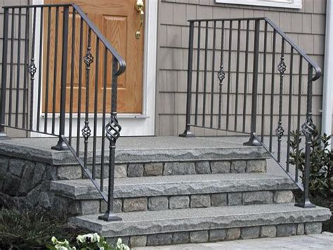 black railing with faux steps front steps and