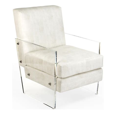 modern deco ivory faux leather acrylic club chair