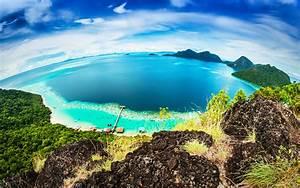 tropics, island, sea, malaysia, bohey, dulang, coast, sky, bohey