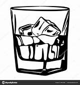Whiskey Glass Ice Vector Drawing Illustration Alcohol Cz Email Depositphotos Getdrawings sketch template