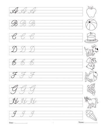 Cursive Writing Book 1 Printable Coloring Worksheet