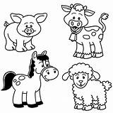 Coloring Farm Pages Animals Animal sketch template