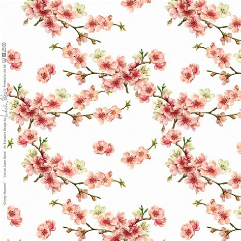 Cherry Blossom Curtain Material by Designer Upholstery Curtain Vintage Floral Fabric Cherry