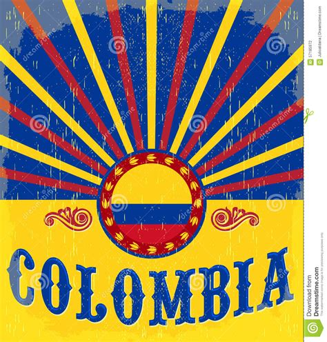 colombia vintage patriotic poster stock photo image