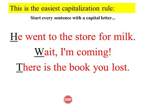 Letter Sentences by Using Capital Letters Ppt