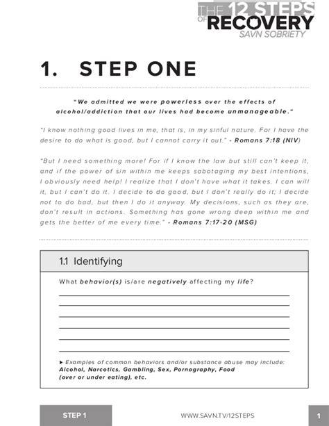 The 12 Steps Of Recovery  Savn Sobriety Workbook