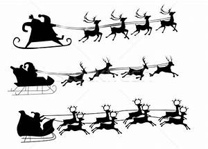Silhouette Illustration of Flying Santa and Christmas ...