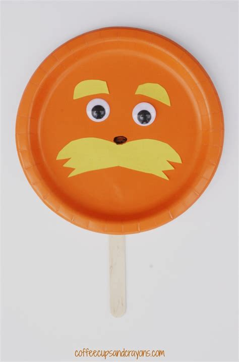 lorax paper plate preschool craft coffee cups and crayons 293 | Lorax Paper Plate Craft for Preschool A simple Dr. Seuss craft for kids