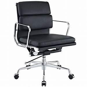 Furniture: Chrome Aluminum Frame Black Leather Swivel