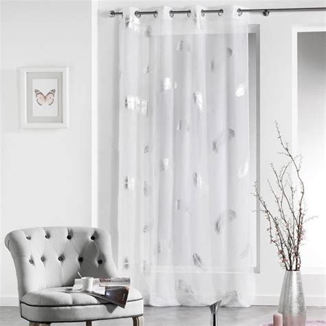 paire de rideaux pas cher rideau voilage quot plumette quot 140x240cm blanc