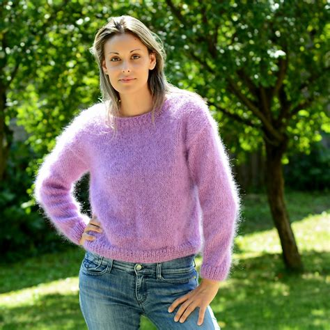 mohair sweater handmade lilac knit mohair sweater by