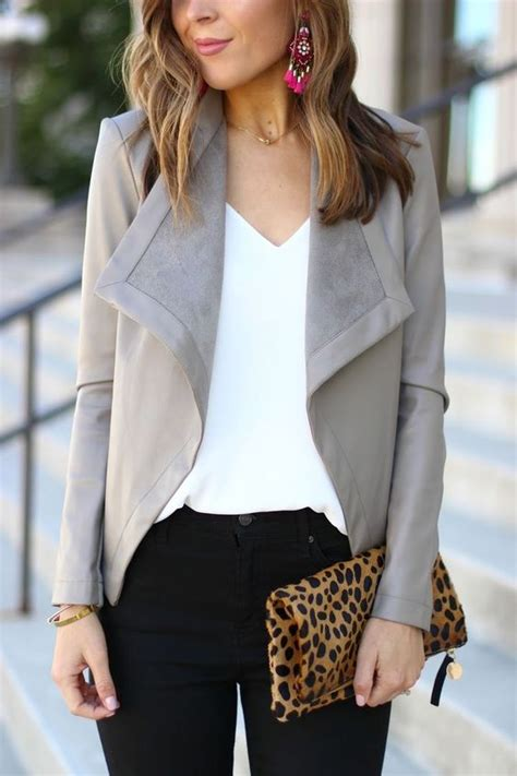 Picture Of black denim a white top and a grey leather and suede jacket