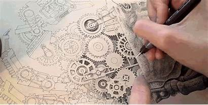 Drawing Artist Mechanical Human Crab Detailed Printer
