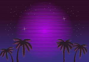 80s Retro Neon gradient background. Palms and sun. Tv ...
