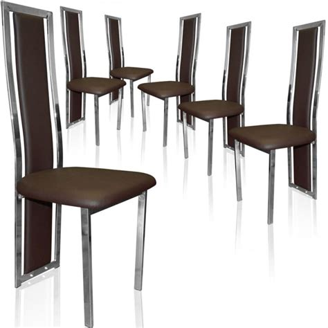 chaises lot de 6 lot de 6 chaises melys marron achat vente chaise marron cdiscount