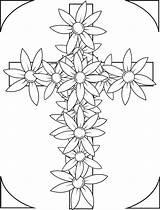 Coloring Cross Flowers Printable sketch template