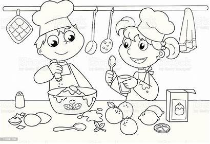 Cooking Coloring Kitchen Colouring Young Colour Chef