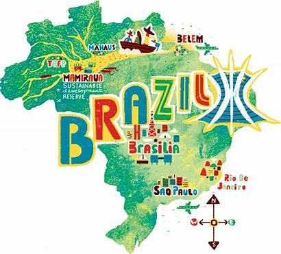 Brazil Map Maps Illustration Travel Brasil Illustrations
