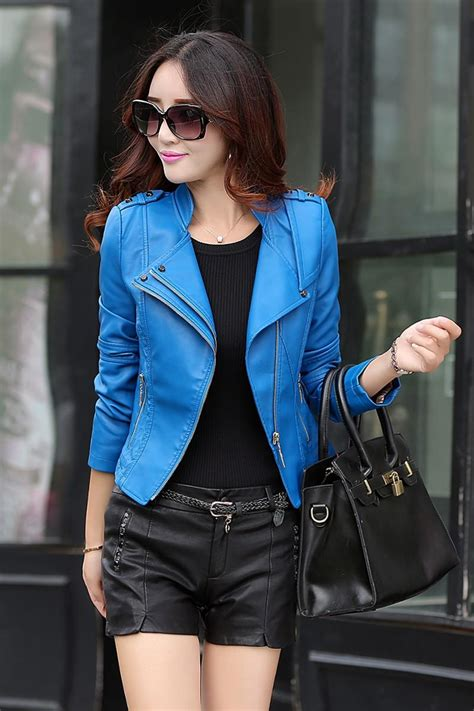 leather jacket women  spring real fur collar leather clothing outerwear jackets  coats