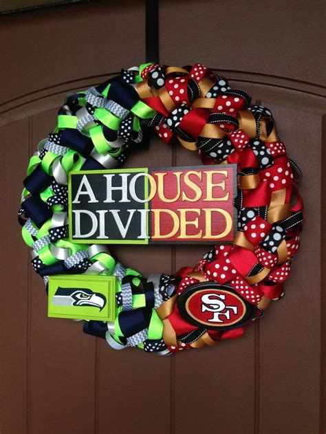 seahawksers house divided ribbon wreath  hand