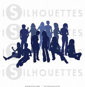 Silhouette Clipart of a Blue Group of Silhouetted People ...