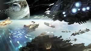Wallpaper Dreadnought  Game  Space  Battle  Planet  Starship  Fire  Galaxy  Art  Screenshot  4k