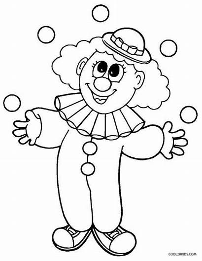 Clown Coloring Pages Clowns Printable Scary Preschoolers