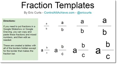 Copy And Paste Google Template by Control Alt Achieve Creating Fractions In Google Slides