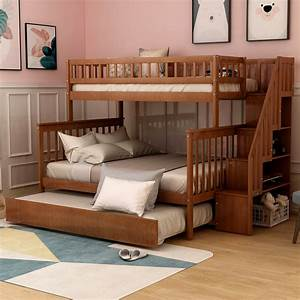 Euroco, Twin, Over, Full, Bunk, Bed, With, Trundle, And, Stairs, For, Kids, Multiple, Colors