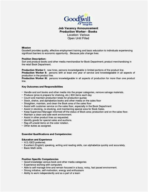 Mechanical Assembler Resume Objective by Exle Of Production Worker Resume Resume Template Cover Letter