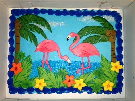 tropical flamingo sheet cake decorated  buttercream