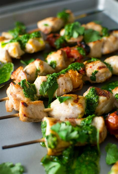 grilled chicken kebabs  chimichurri sauce recipe