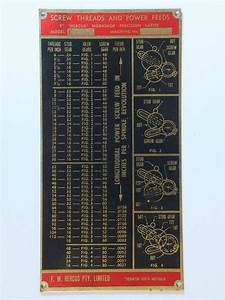 South Bend Screw Cutting Chart Model Engineer