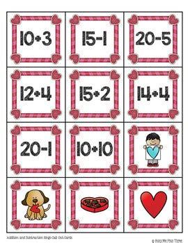valentines day addition  subtraction math bingo