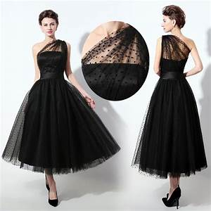 plus size black one shoulder tea length cocktail prom With black formal dress for wedding