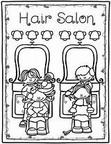 Salon Coloring Flashcards Matching Activities sketch template