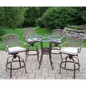 shop oakland living 5 mississippi cushioned cast aluminum patio bar height set at lowes