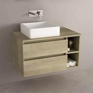 meuble salle de bain chene 80 cm 2 tiroirs terra With meuble 80 cm