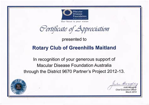Rotary Certificate Of Appreciation Template by Certificates Of Appreciation Rotary Club Of Greenhills
