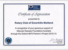 Certificates of Appreciation Rotary Club of Greenhills