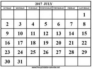 Free Printable Calendars July 2017 Com