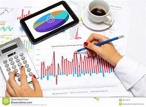 Close Up Of A Female Hands  Doing Business Statistics  At