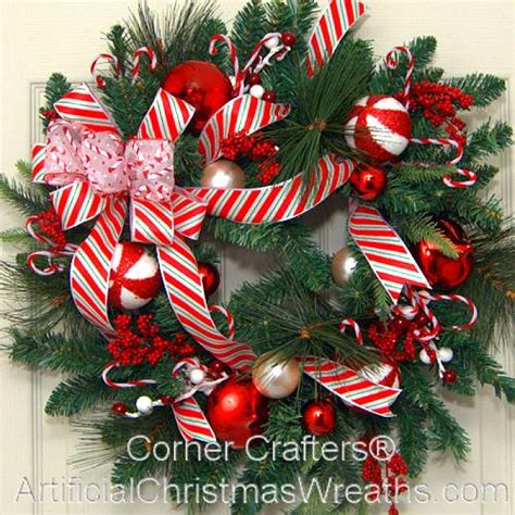 decorating with canes for christmas christmas candy cane wreath artificialchristmaswreaths