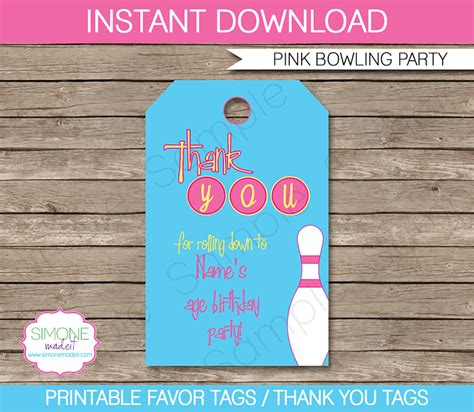 bowling birthday party favor tags   tags